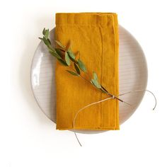 Set of 2 Mustard Stone Washed Linen Napkins ($15) ❤ liked on Polyvore featuring home, kitchen & dining, table linens, linen napkins and table linen napkins