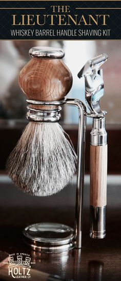 "THE ""LIEUTENANT"" SHAVING KIT – WHISKEY BARREL RAZOR AND BRUSH SET"