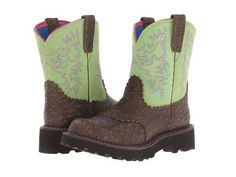 Ariat Western Boots Womens Fatbaby Cowboy Brown Lime 10012821  Price : $84.95 http://www.standupranchers.com/Ariat-Western-Womens-Fatbaby-10012821/dp/B00K0RPJEA