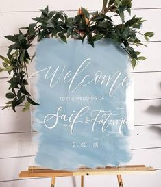 Acrylic Wedding Welcome Sign, Painted Back Acrylic Welcome Sign, Watercolor Wedding Welcome Sign, Custom Wedding, Modern Wedding Sign - Spring Wedding, Wedding Day, Dream Wedding, Wedding Reception, Reception Ideas, Dusty Blue Weddings, Wedding Welcome Signs, Beach Wedding Signs, Diy Letters