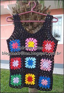 Adriana Lima: Regatinha de squares coloridos em crochê