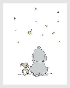 Elephant and Bunny Nursery Art Make A Wish With Me