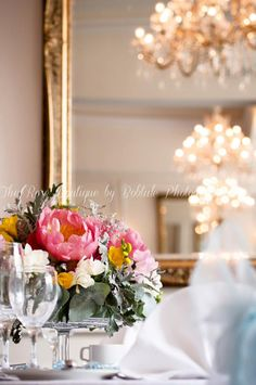 Love this photo of our chandeliers and the beautiful flowers of thanks to Botale Photography Country House Wedding Venues, Country House Hotels, Table Centerpieces, Centrepieces, Table Decorations, Coral Charm Peony, Wedding Show, Peonies, Beautiful Flowers
