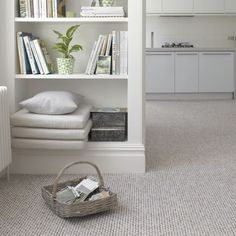 Here the texture is thin so you get a durable and more stain resistant carpet. Instead of a lot of decorative accents you get a sort of marble look with different colors playing through.