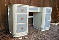 Grey and White Antique Vanity Hand Painted Upcycled by Relek, $525.00  www.relek.etsy.com