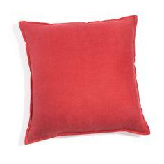 Cojín de lino lavado rojo 45 x 45cm