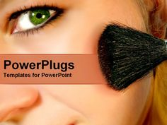 PowerPoint Template Displaying Close up of Woman Face Applying Blush on Cheek