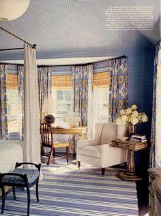 Blue lake house bedroom