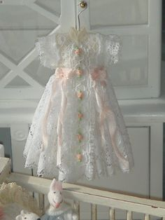 Dollhouse christening dress. 1:12 dollhouse miniature dress. So pretty!