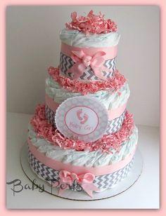 Pink and Grey Baby Shower . Pink and Grey Safari Diaper Cake . Baby Shower Diaper Cake via Etsy Baby Shower Chevron, Grey Baby Shower, Baby Shower Diapers, Baby Shower Gifts, Girl Shower, Chevron Diaper Cakes, Safari Diaper Cakes, Baby Cakes, Baby Pen