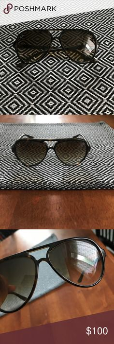 Rayban aviators plastic frame Gorgeous aviators. Good condition with minor scratches which I tried to show in pics. Not noticeable when worn. Comes with case. Purchased at Macy's. Ray-Ban Accessories Sunglasses