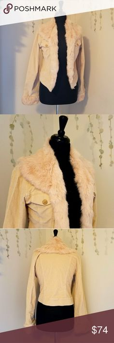 SHERI BODELL Rabbit Fur Corduroy Jacket RN# 107393  Authentic Sheri Bodell jacket with 100% dyed rabbit fur.  Body is 96% cotton and 4% spandex.  Preowned and free of surface flaws.  This jacket can be latch hooked shut but only one of the three sets is functional, The other 2 need to be replaced.   Size L Sheri Bodell Jackets & Coats