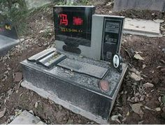 When Chinese computer enthusiast, Hu Chuang, logged off for the last time, his family decided to erect an appropriate gravestone. His family had a headstone carved in the shape of a monitor, giving his dates of birth and death. Stonemasons also included a keyboard, mouse and a camera with a picture of tragic Chuang to complete the tombstone tribute.