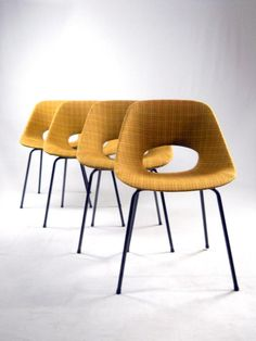 Aluminum & Fabric Tulip Chairs by Pierre Guariche for Steiner, 1954, Set of 4