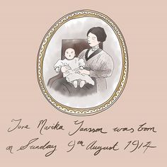This months theme is portrait of an artist and I have chosen Tove Jansson. This is an artist who has inspired me since I was a child. Here she is a baby being held by her mother. Tove Jansson, Moomin, Paper Cutting, Inspire Me, Collages, Hold On, Paintings, Illustrations, Portrait