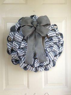Grey Chevron Faux Burlap Ribbon Wreath with Grey Burlap Bow by TowerDoorDecor, $35.00