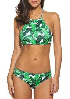 ef6289776166d Ouyilu Women Sexy Two Pieces Halter Bikini Set Padded Swimwear Swimsuit  Beach Wear