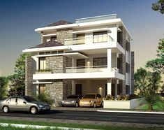 more on villas 3 Storey House Design, Bungalow House Design, House Front Door, My House, House Elevation, Building Elevation, Kerala House Design, Kerala Houses, New Home Designs