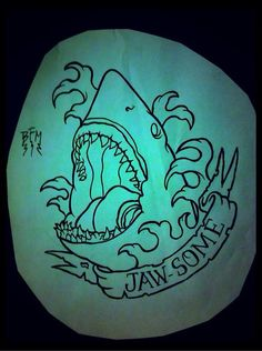 """Traditional shark tattoo, but it would say """"shove it!"""" In homage to Defrones song My own Summer :) Más Hai Tattoos, Neue Tattoos, Wolf Tattoos, Body Art Tattoos, Sleeve Tattoos, Tattoo Outline, Tattoo Fonts, Tattoo You, Back Tattoo"""