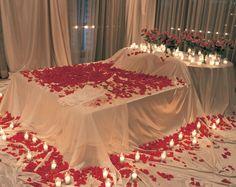Romantic idea with rose petals.