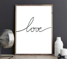 Love quote artwork a wall Scandinavian Poster, Scandinavian Nursery, Black And White Artwork, Black And White Posters, Bedroom Walls, Scandi Art, Pretty Fonts, Home Decor Quotes, Love Posters