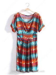 Orange Round Neck Short Sleeve Horses Print Dress -$23.19