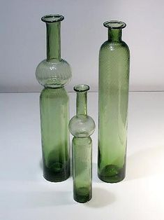 "NANNY STILL - Glass bottles ""Neptuna"" designed 1964 for Riihimäen Lasi Oy, in production Finland. Bottle Design, Glass Design, Design Art, Modern Design, Glass Bottles, Perfume Bottles, Scandinavian Design, Finland, Modern Contemporary"
