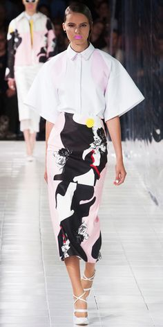 PRABAL GURUNG: White and pink double bonded poplin short sleeved shirt with foldover detail and cutout back and pearlescent pink, black and white abstract rose printed Napa leather pencil skirt