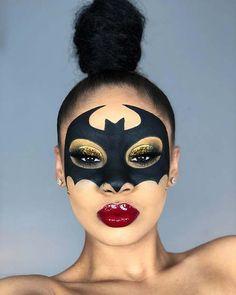 43 Hübsche und einfache Halloween-Make-up-Looks Batman Makeup, Superhero Makeup, Amazing Halloween Makeup, Halloween Eyes, Batman Halloween, Pretty Halloween, Creative Eye Makeup, Simple Makeup, Pretty Makeup