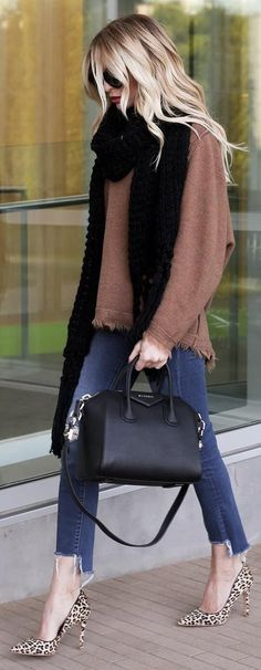 #winter #fashion Brown Knit + Black Scarf + Leopard Pumps