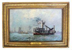 "Boston Harbor 1879 Oil on canvas Signed Walter Franklin Lansil (1846 - 1925)   Framed 21"" L x 14 1/2""H ,"
