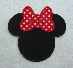 Minnie Mouse Silhouette (large) Fabric Embroidered Iron On Applique Patch