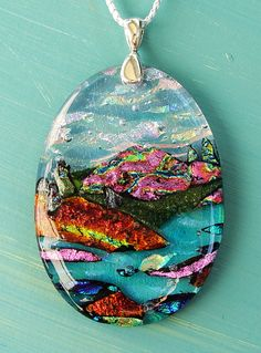 Dichroic fused glass sculpted magenta mountain by ChrysalisDreams, Sale $78.00