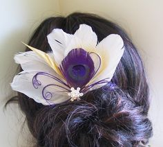 Peacock Wedding, Hair Accessories, Purple, Feather Hair Piece, Wedding Hair facinator, Ivory, Peacock, feather hair - IVORY BUTTERFLY. $39.00, via Etsy.
