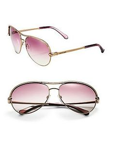 61b6116c31 Roberto Cavalli - 61MM Crystal & Metal Aviator Sunglasses. AccesoriosGafas  ...