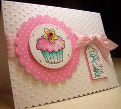 Cupcake, polka dots, tag, ribbon, circle