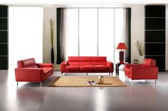 modern red leather sofa set