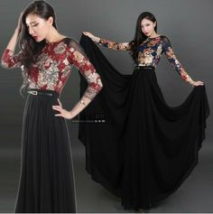 2014 Plus size Long sleeve lace maxi dresses new fashion  summer spring novelty flower print women casual dress floor length-in Dresses fro...