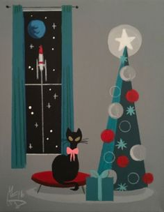 EL GATO GOMEZ PAINTING MID CENTURY MODERN EAMES ERA CAT ROCKET CHRISTMAS HOLIDAY | eBay Retro Christmas, Vintage Christmas Cards, Christmas Cats, Vintage Holiday, Christmas Time, Holiday Cards, Retro Kunst, Retro Art, Vintage Greeting Cards