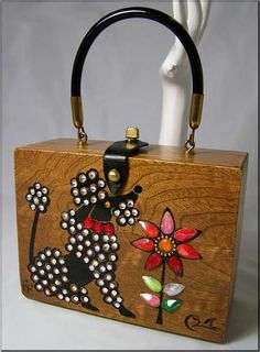 ~Enid Collins ~Poodle Wooden Box Handbag I have a few #EnidCollins purses that will be up on my website soon! :) polkadotsvintage.com