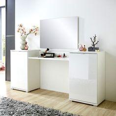 Schminktisch Set Hochglanz weiß Spiegel Schminkplatz Frisiertisch Kosmetiktisch