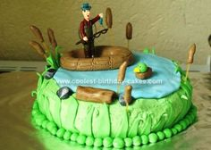 Homemade Fishing Birthday Cake: This cake is a boxed mix baked in two 8-in. round pans. I tinted the frosting green and frosted the entire cake with the base color (next time I would