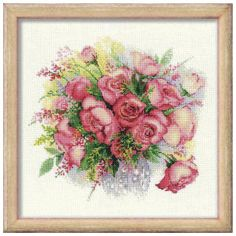 Watercolor Roses - Cross Stitch, Needlepoint, Embroidery Kits – Tools and Supplies