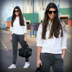 Set Classic White Shirt, Set Trousers, Adidas Stan Smith, Mulberry Bag, Saint Laurent Sunnies