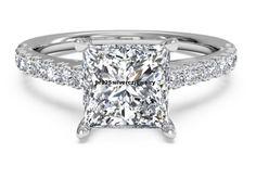 2.42 CT PRINCESS CUT WHITE DIAMOND ENGAGEMENT RING 14K WHITE GOLD LAB-CREATED