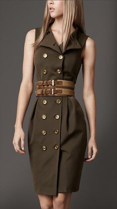Burberry London Dresses - this line is Amazing! Mode Outfits, Dress Outfits, Casual Dresses, Fashion Dresses, Fashion Clothes, Military Inspired Fashion, Military Fashion, Safari Dress, Mode Costume