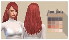 """sbgsims: """" """"Jenn Hair by @enriques4 """" • you need the mesh. • recolored in @pastry-box's saccharine palette. •  adds swatches to the original hair! • download ♡ """""""