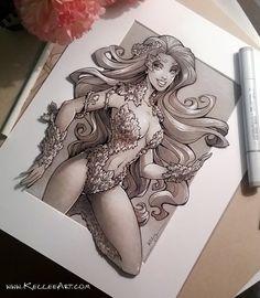 Poison Ivy Fan Art, Kellee Riley on ArtStation at https://www.artstation.com/artwork/poison-ivy-fan-art