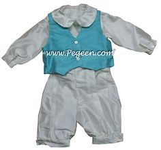Style 590 Boys Ring Bearer Suit in Bahama Breeze and Antique White