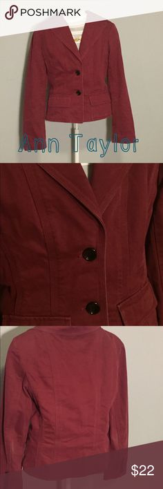 Ann Taylor Blazer Burgundy Ann Taylor Blazer. Another option for day to evening. Some signs of wear around elbows as shown in last pic. Lots of life left in this little number. Ann Taylor Jackets & Coats Blazers